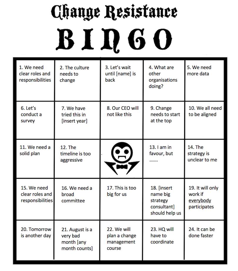 Change Resistance Bingo Card